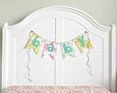 Floral Vintage Linen Fabric Baby Banner Decoration Baby Room Decor  Whimsical and Handmade Vintage Baby Shower Decorations / Coral Mint Gold
