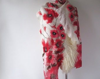 Nuno Felted scarf   Poppy scarf white red  flower silk scarf white women scarf by Galafilc
