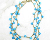 Statement Necklace [Statement Necklace Turquoise Magnesite Multi Strand Statement Choker] BLUE RAY