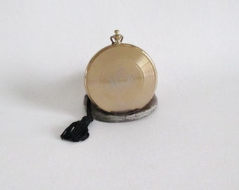 Compact Monogrammed Pocket Watch Style Leather Case