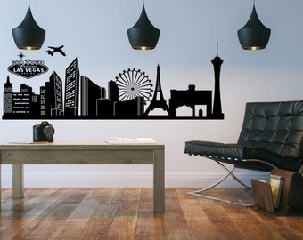Skyline Decal, Las Vegas Skyline, Vegas Skyline Wall Decal, Wedding Decorations, Event Decor, Cityscape Wall Decal, Dorm Decor