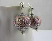 SALE Pink Indonesian Bali Earrings Crystal Silver Bohemian Gypsy Free Shipping