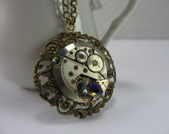 Steampunk Necklace Watch Parts Brass Filigree Iridescent Glass Victorian Free Shipping