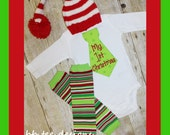 My First Christmas Tie Bodysuit, Hat,  and Stripe Leg Warmers