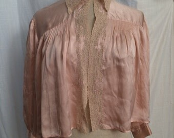 Vintage 1940s Pink Silk Charmeuse Bed Jacket with Alencon Lace