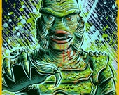 Creature from the black lagoon art print halloween monster movie horror sci fi holloween lake universal monsters film black and white badon