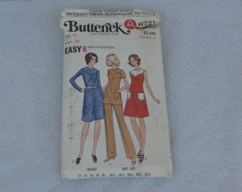 Butterick Pattern 6721 Misses' Size 12 Dress, Tunic, and Pants