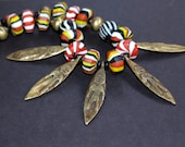 Reserved Rare Tibetan Rising Sun Bead Necklace Black Red Yellow w Very Old Naga Brass Pendants Goddess Figures Collectible Ethnic Jewelry