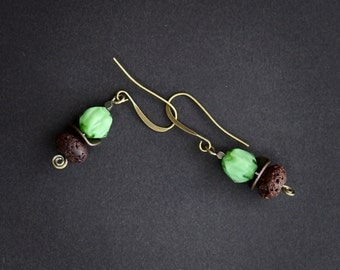 Mint Green Glass Earrings Vintage Faceted Glass Cane Beads with Rustic Brown Lava on Brass Hooks Earthy Boho Jewelry