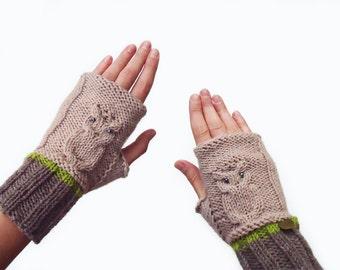 Knit Fingerless Gloves. Crochet Mittens. Knit Handwarmers. Owl Mittens, Owl Gloves