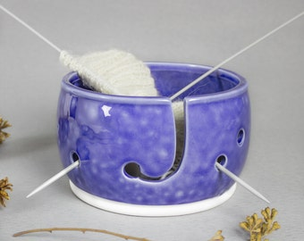 Cobalt Frothy Light Blue Yarn Ceramic bowl, Knitting Bowl, Pottery yarn bowl, 3 EXTRA Holes Crochet Bowl BlueRoomPottery MADE to ORDER