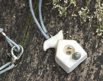 Miniature Ceramic Birdhouse, Stoneware Pendant / Necklace, Rustic Boho Woodland Jewelry, Modern house necklace Gift for her