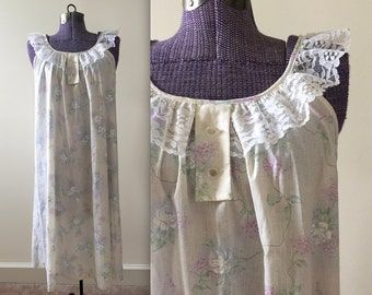 Vintage 1970s 80s Floral & Lace Nightgown - Medium