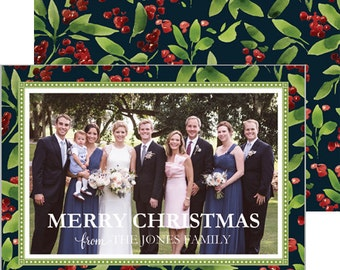 Watercolor Berries Christmas Horizontal Photo Card | Select from Navy or White Background | Choose from Patterned Back or Photo Collage Back