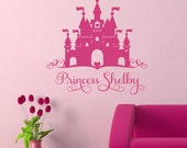 Princess Heart Castle Girl Name Decal, Vinyl Wall Lettering, Vinyl Wall Decals, Vinyl Decals, Vinyl Letters, Wall Quotes, Castle Decal