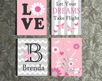Girl Butterfly Love Canvas Set, Nursery Wall Art, Custom Painted Canvas Quote, Hand Painted Canvas Art, Canvas Wall Quotes, Nursery Decor