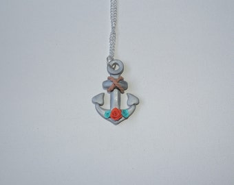 Clearance, half off, Anchors Away Necklace with roses, turquoise, red orange