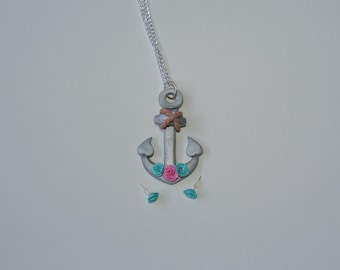 Clearance, half off, Anchors Away Necklace with roses, turquoise, pink, with matching earrings