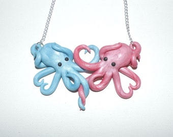 Intertwined Octopi in love Necklace,  cotton candy, pink and blue valentines day gift