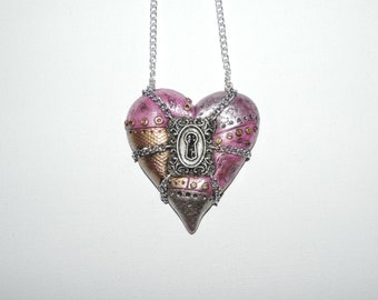 Large industrial steampunk chained locked heart necklace, pink, valentines day gift