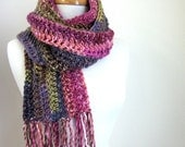 Pink Winter Scarf - Striped Knitted Scarves - Long Crochet Scarf - Pink Scarf with Fringe - Forest Berry