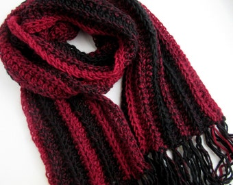 Red and Black Striped Hand Knit Scarf - Crochet Scarves - Unisex - Great Gift Idea