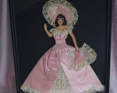 RESERVED Rare Ribbon Lady Paper Doll Silhouette Picture Silk Rose Pink Lace Dress Trim Wood Frame Boudoir Floral Flower Art Deco Hat Bonnet