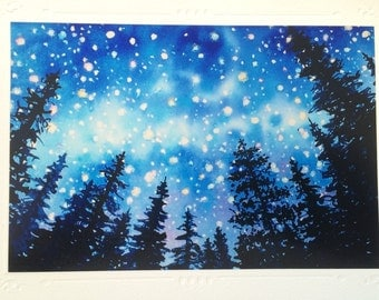 """SET OF 5 Night Stars in mountain pine forest Watercolor Art Print, Embossed Greeting Card, Note Card """"Sierra Stars series, Camp"""""""