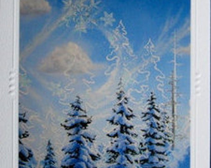 """SET OF 5 Embossed Mountain Snowflake Art Greeting Cards / Note Cards """"Spirit of Inspiration""""  with envelopes - Snow Flakes in Winter Forest"""