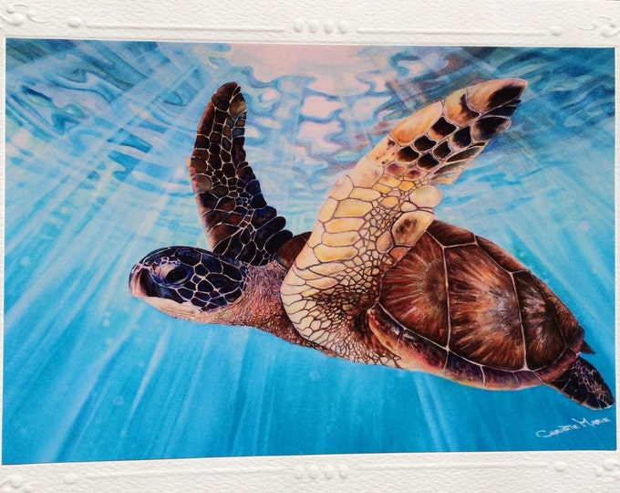 Aloha Spirit~  5 Tropical Sea Turtle Art Card, watercolor Painting Framable Art print Greeting Cards, Note Cards Hawaiian Christie Marie