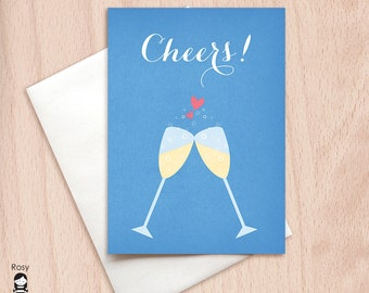 Cheers - Champagne Toast - Wedding Congratulations Greeting Card