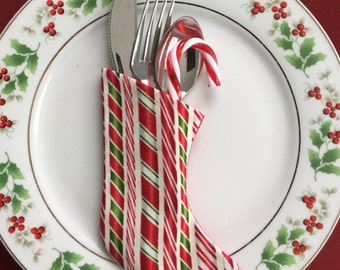 Candy Canes and Peppermint Sticks Mini Christmas Stockings hold flatware in a Candystripe Pattern - Set of 4