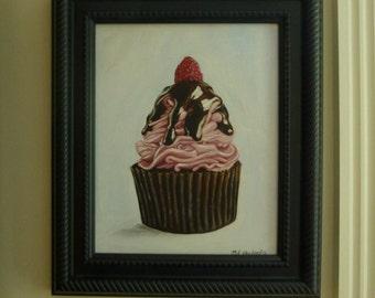 "Pink Cupcake Original Painting 8"" x 10"""