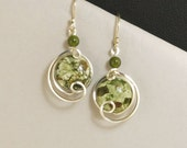 Olive Green Dangle Sterling Silver Earrings, Rhyolite Stone Wire Wrapped Drop Earrings