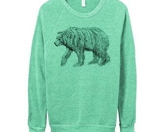 Mens Bear Sweater -  Longsleeve Grizzly Bear - Green - Small, Medium, Large, Extra Large