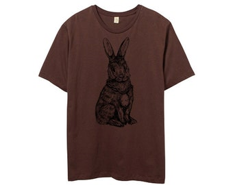 Mens Rabbit Tshirt, Brown, Rabbit shirt, brown bunny, rabbit illustration, Mens Crew Neck Tshirt - Small, Medium, Large, XL, 2XL