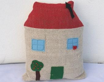 Handwoven house, pillow, plush