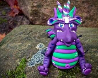 Polymer Clay Dragon 'Grapette' Inspired by Chinese Legend Folklore - Limited Edition Handmade Collectible