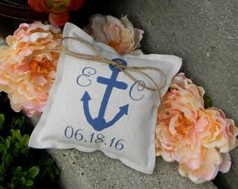 Anchor Ring Bearer Pillow Nautical Beach Navy Canvas Ringbearer Pillow Personalized Ring Bearer Pillow