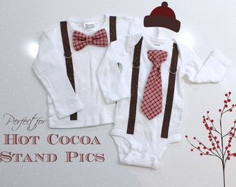 Hot Cocoa Stand Photography Baby Boy Christmas Outfit. Hot Coco Hot Chocolate Toddler or Infant Christmas Tie and Suspenders Bodysuit.
