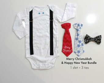 Chrismukkah Shirt. Christmukkah Baby Outfit. Interfaith holiday clothes. Christmas AND Hanukkah Chanukah outfit. New Years. Holiday Season.