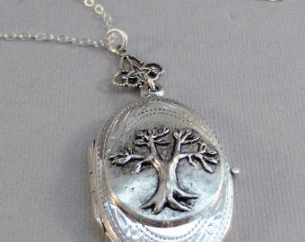 Thinking Tree,Family Tree,Tree,Locket,Necklace,Tree Locket,Tree Necklace,Tree Locket, STerling Silver,Sterling Silver Locket,Woodland
