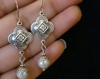 Vintage Dangle earrings - antique silver ox over brass attached with crystal pearl.