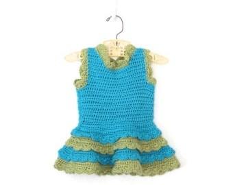 Vintage Baby Dress * Crochet Ruffle Dress * Little Girl Tutu Dress * size 12 18 24 months