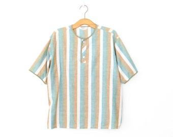 Striped Tshirt Shirt * Vintage Striped Top * Henley T-shirt * XL