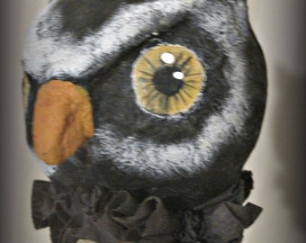 Halloween owl- doll noisemaker- Folk art- papier mache- handmade art doll- OOAK doll