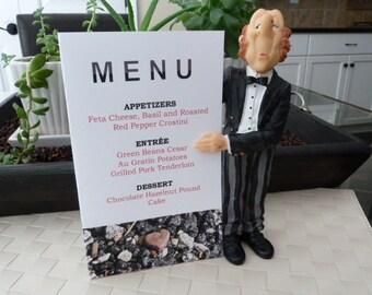 Red Stone Heart Menu Card - Valentine, Wedding, Dinner Party Decoration