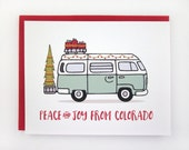 Peace and Joy From Colorado - VW Bus Card Set - 6 Pack
