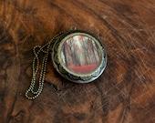Large Art Locket, Fairy Tale Locket, Gothic Locket, Orange, Red, Statement Jewelry, Wearable Art Locket