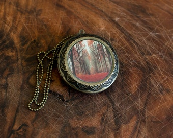 Large Art Locket - Woodland Fairy Tale Locket - Orange, Red, Fall Gift for Women